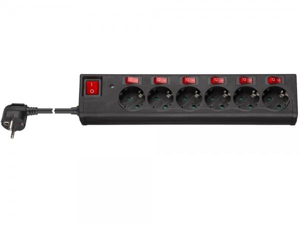 Steckdosenleiste 6-fach Schutzkontakt mit Einzelschaltern und Hauptschalter, schwarz, 1,5m