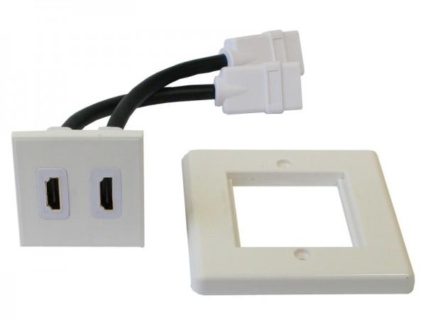 HDMI-Einbaurahmen/Anschlussdose, mit 2 HDMI Anschlüssen, Good Connections®