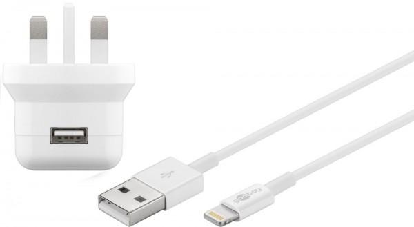 UK USB-Ladegerät, 1 Port, 2,1A, inkl. Anschlusskabel Apple Lightning Connector an USB A Stecker, weiß , 1m