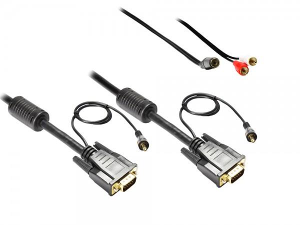 Anschlusskabel S-VGA St. + 3,5mm Klinke St. an S-VGA St. + 3,5mm Klinke St., 15m, Good Connections®