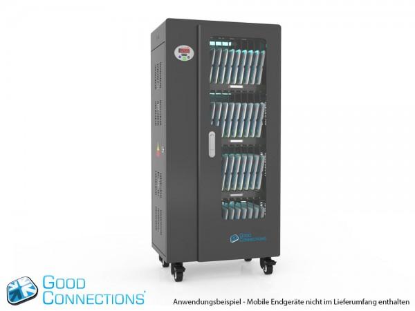 Tablet-Ladewagen für bis zu 40 Geräte, UV-C Desinfektion, Smart Control, Synchronisierungsfunktion für iOS/Android, schwarz, Good Connections®