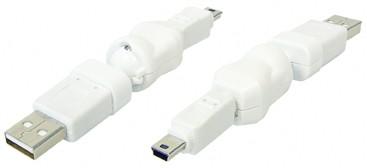 USB Adapter USB A St. auf 5pol. Mini USB Stecker, 360° drehbar, weiß, Good Connections®