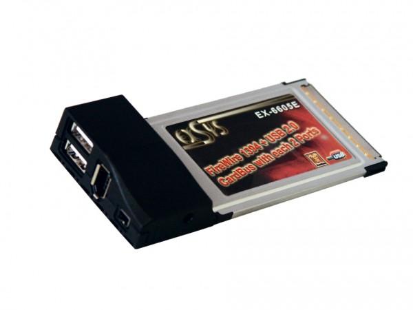 PCMCIA Karte FireWire 1394 + USB 2.0 mit je zwei Ports, Exsys® [EX-6605E]