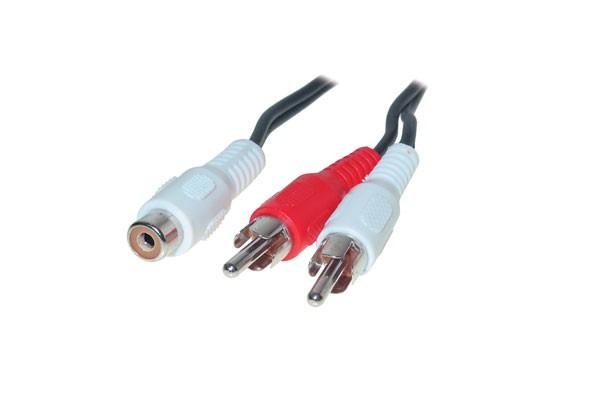 Audio Adapter Mono Cinch Buchse / 2 x Stecker, 0,2m, Good Connections®