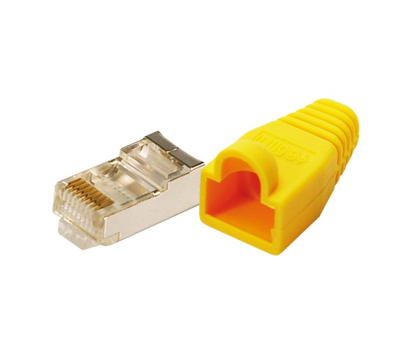 Modularstecker CAT5e mit Knickschutzhülle, gelb, 100 Stück, Logilink® [MP0015]